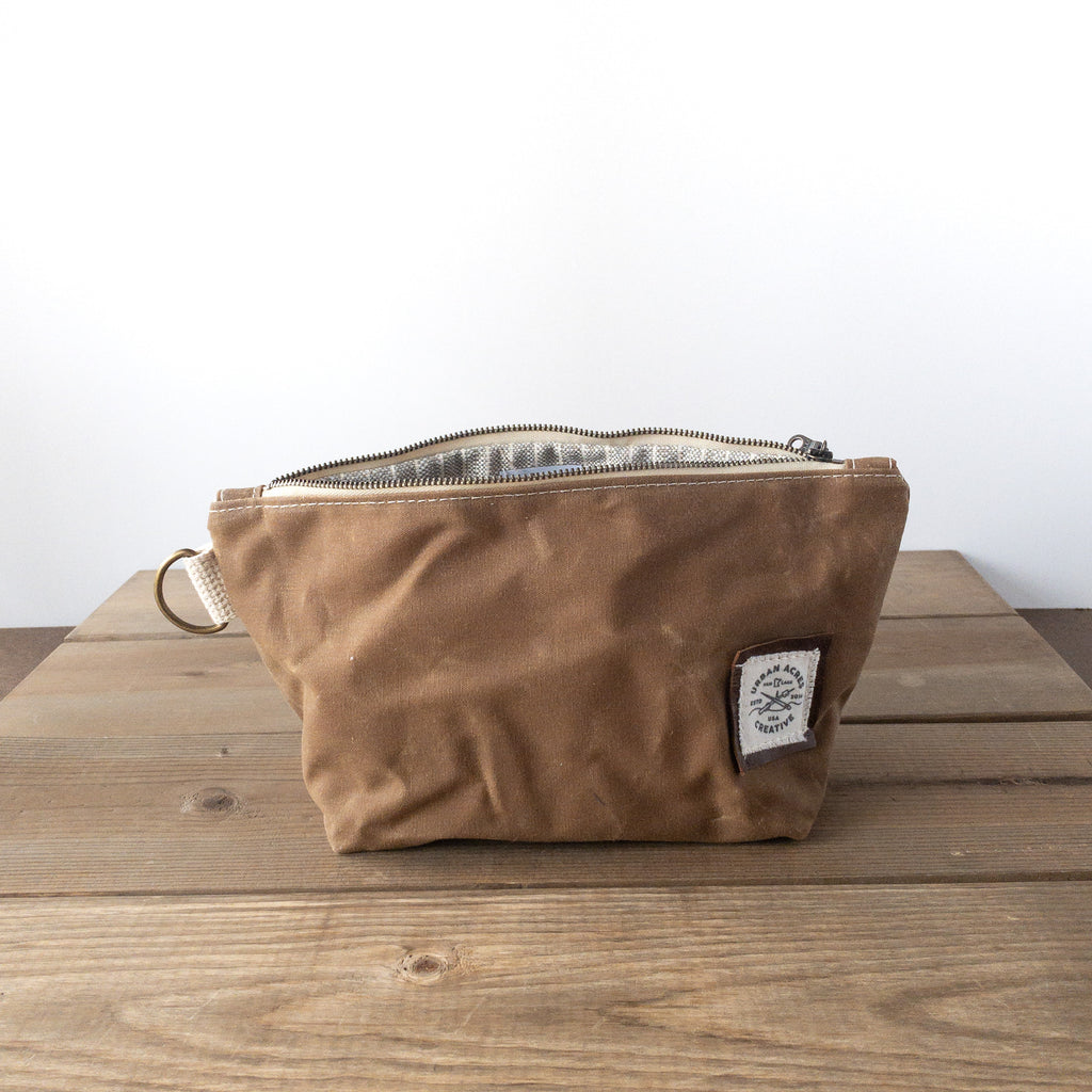 JORDAN - Make Up Bag - Tan + Grey Stripes