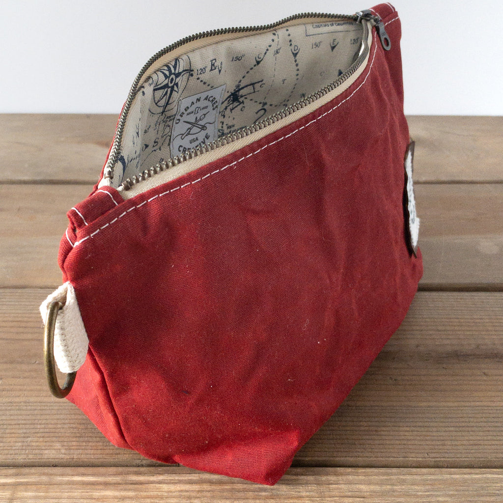 JORDAN - Make Up Bag - Red + World Map