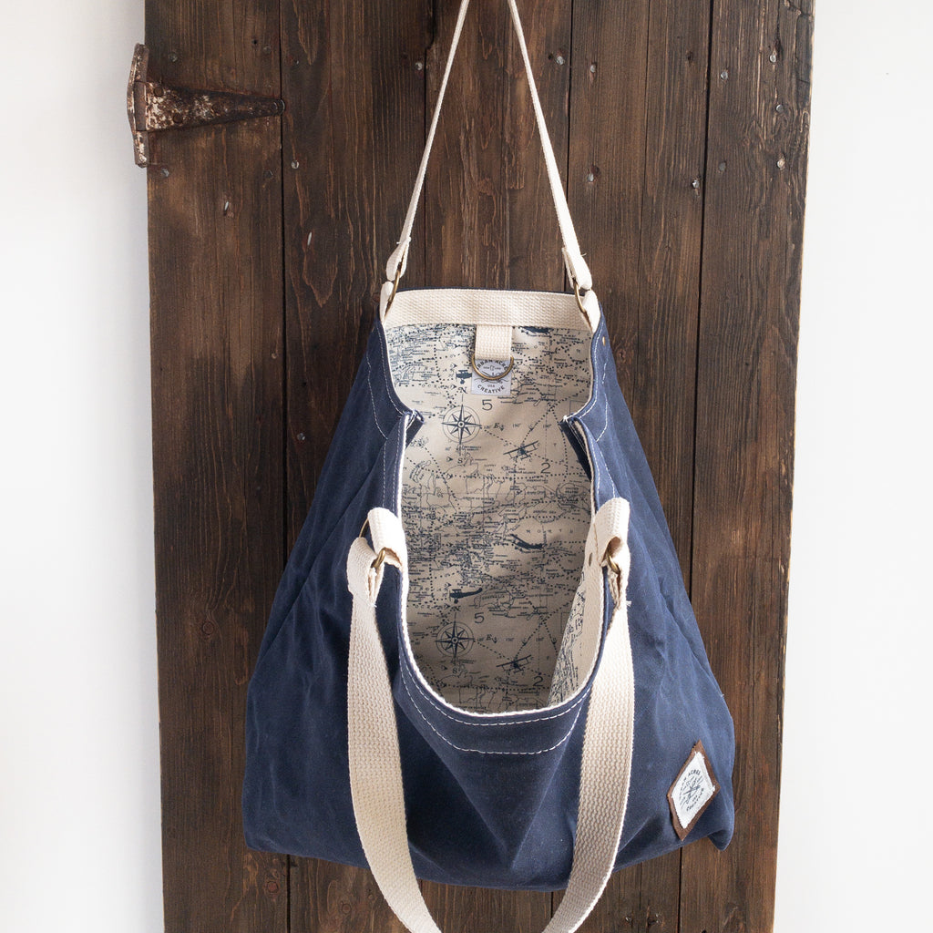 ALEXANDRIA - Large Tote Bag - Navy + World Map