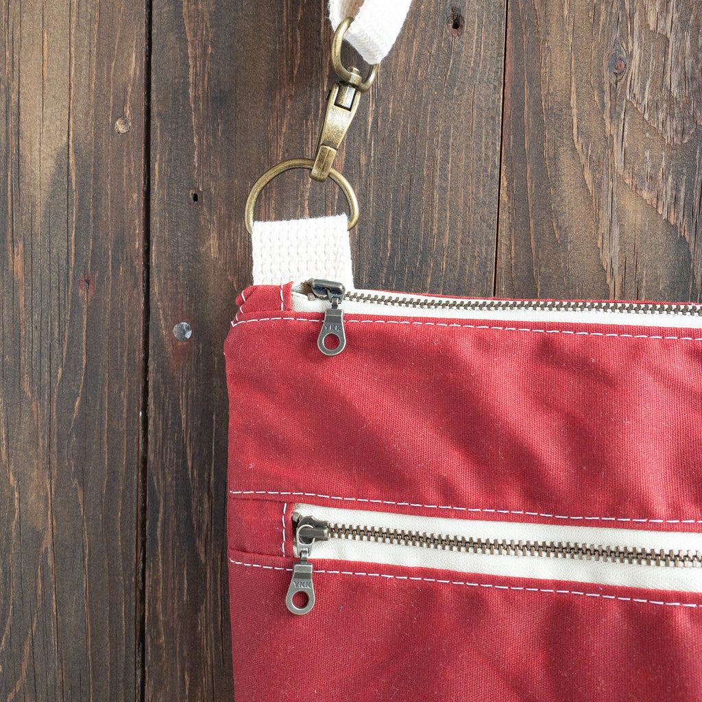 BRECKENRIDGE - Large Crossbody - Red + Grey Stripe