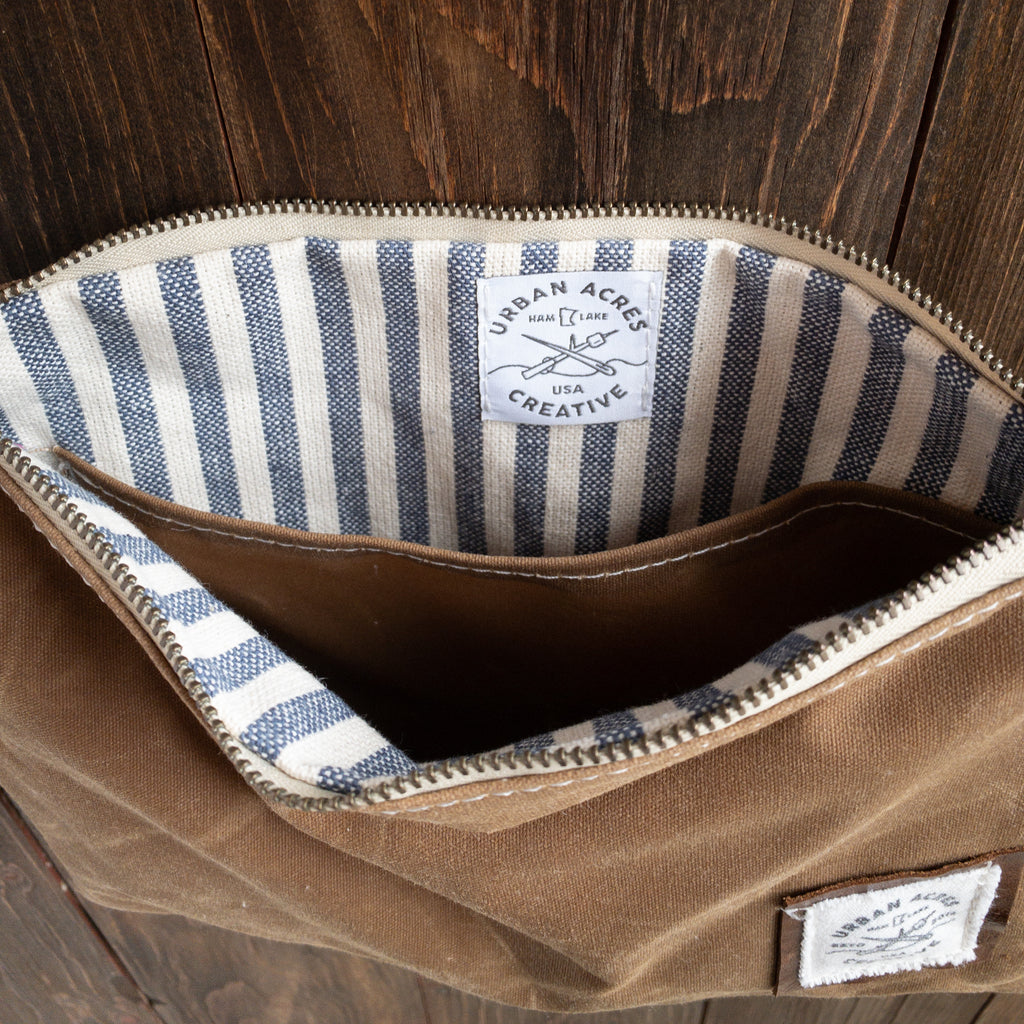WINONA - Small Crossbody - Tan + Navy Stripe