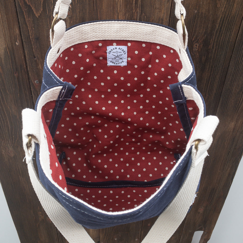 BLAINE - Small Tote Bag - Navy + Red Polka Dot