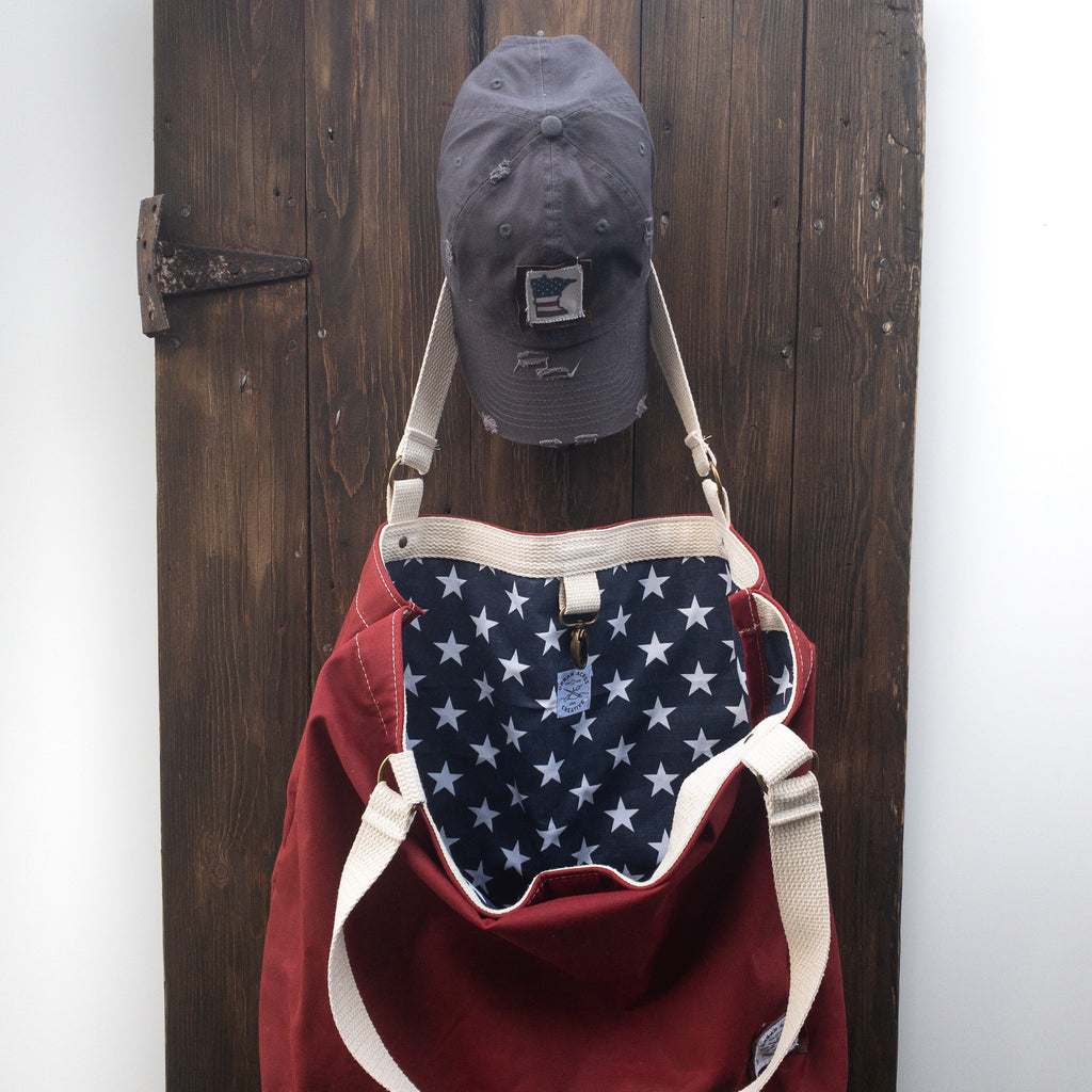 ALEXANDRIA - Large Tote Bag - Red + Navy Stars