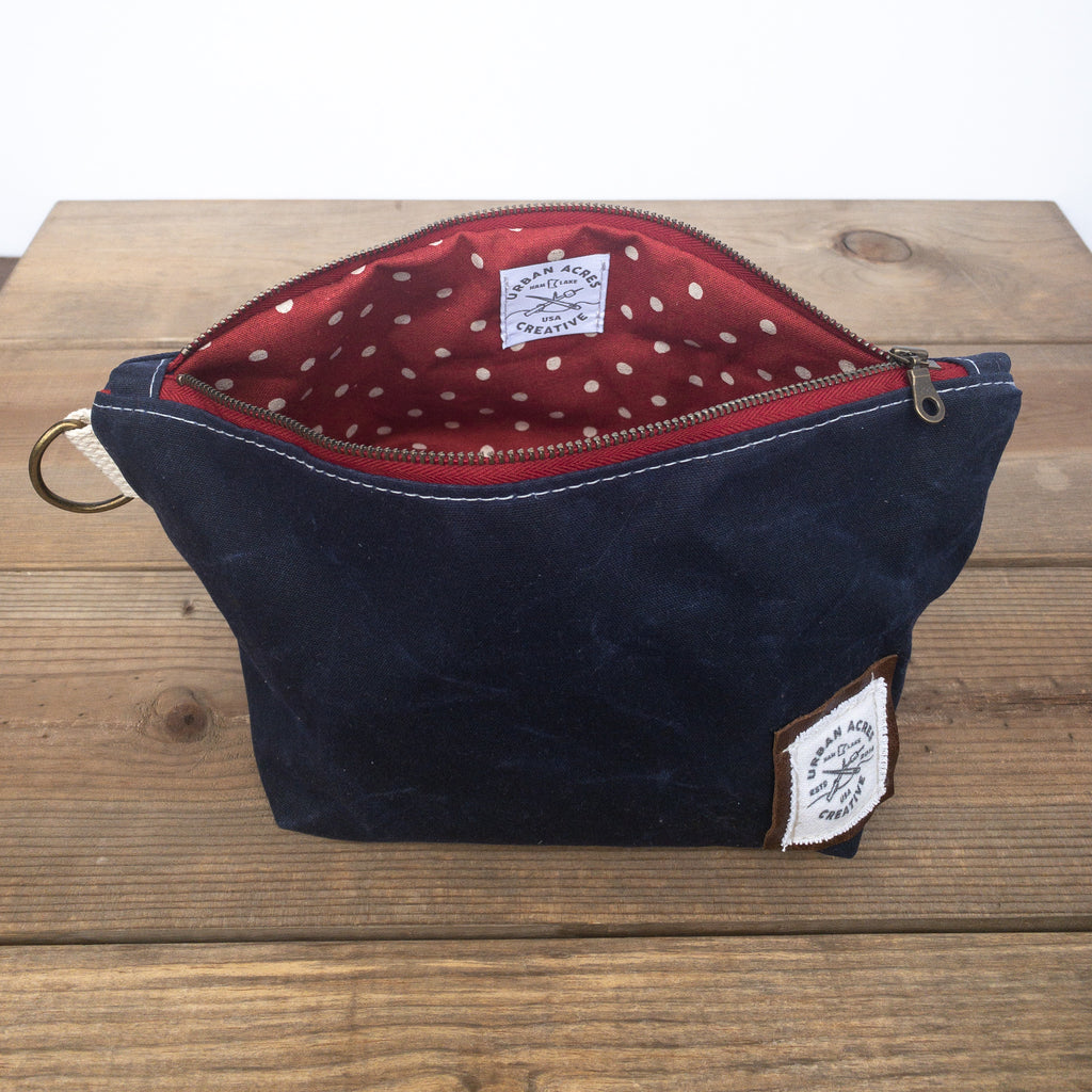 JORDAN - Make Up Bag - Navy + Red Polka Dot