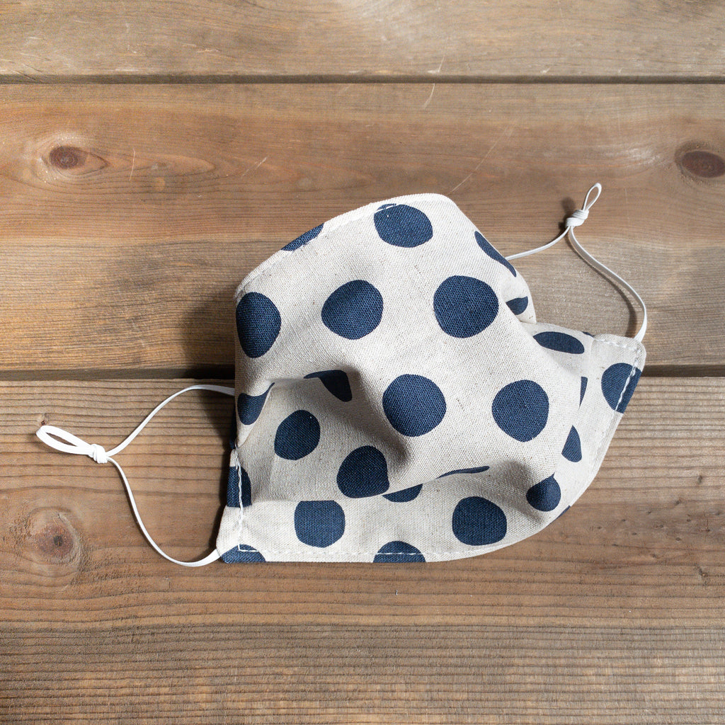 Navy Polka Dot Face Mask