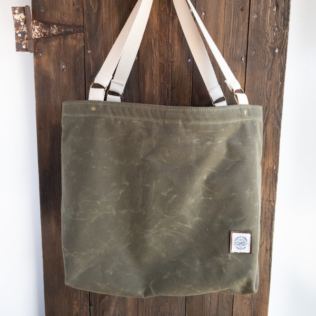 ALEXANDRIA - Large Tote Bag - Olive + Multi Stripe