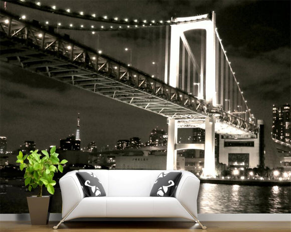 3D  US Golden Gate Bridge Black and White Backdrop Wallpaper Living Room Bedroom mural FREE SHIPPING STANDARD DELIVERY