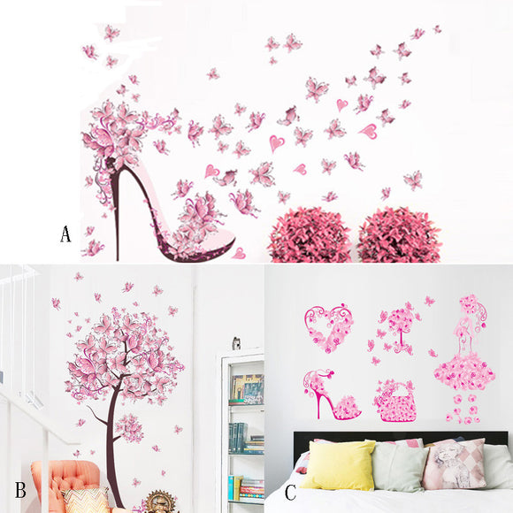 Living Room wall stickers Creative Butterfly Flower Fairy FREE SHIPPING STANDARD DELIVERY