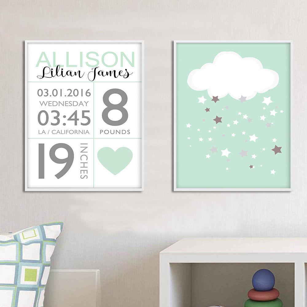 Birth Record Celebration Canvas – Eclectic Shed