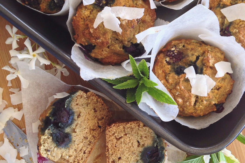 Blueberry Coconut & Vanilla Muffins feature image