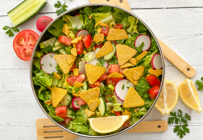 A Fattoush Salad With Chickpea Crisps Recipe By Katie Lolas