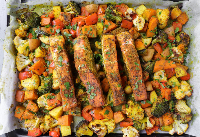One Pan Dinner Recipe: Salmon & Roasted Vegetables
