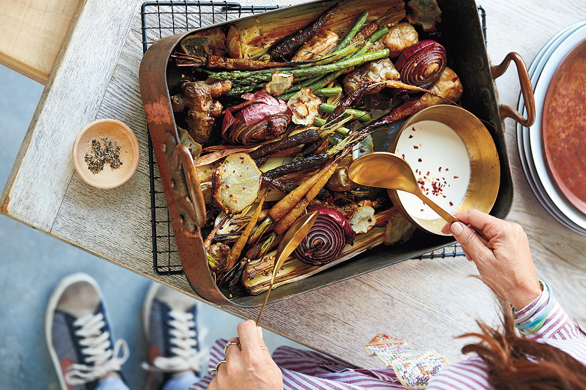 Prebiotic Tray Bake With Tahini Drizzle feature image