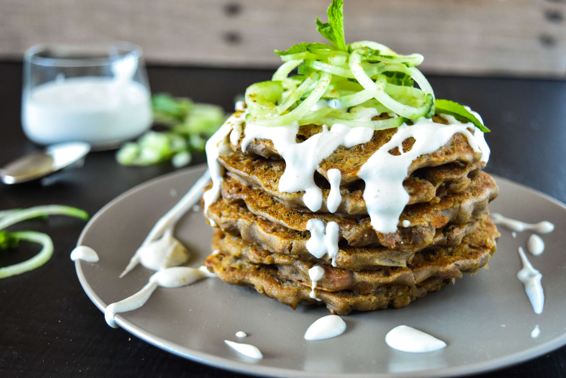 Protein Pancakes with Tahini Yoghurt Dressing feature image