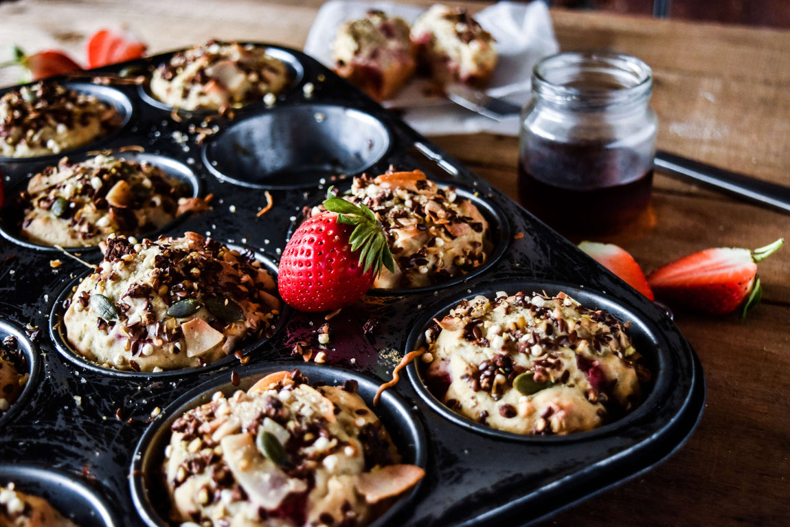 Healthy Gluten Free Apple and Berry Breakfast Muffins feature image