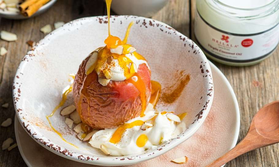 Vegan Baked Apple with Caramel Sauce feature image