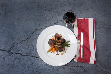 Sweet Balsamic Marinated Lamb Rack with Seasonal Vegetables feature image