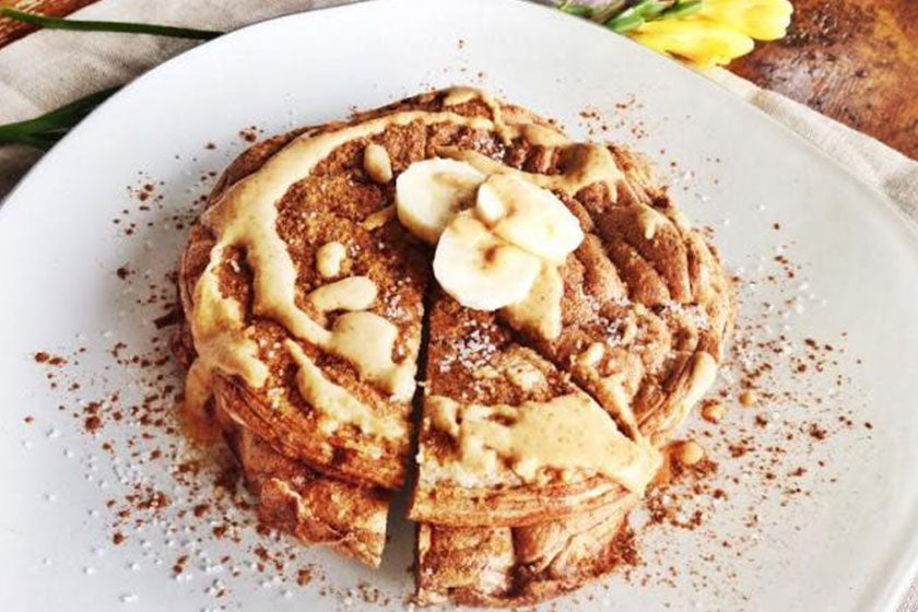 Recipe: Peanut Butter Pancakes With Cacao Nibs feature image