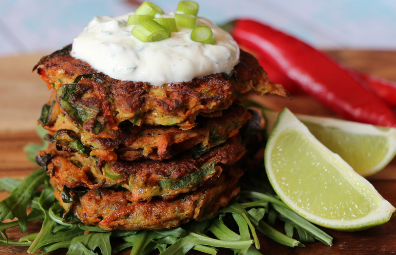 Spiced vegetable fritters w/ zesty yoghurt feature image