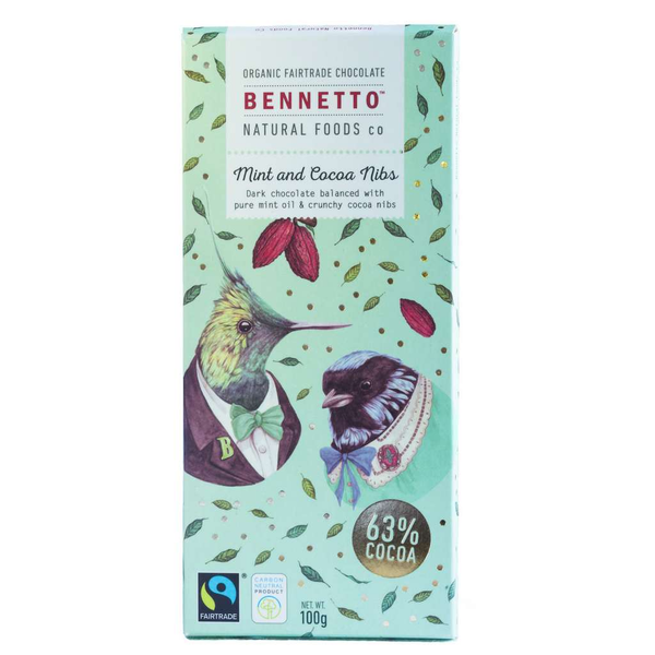 Bennetto Natural Foods co Mint and Cacao 14 x 100g Bars
