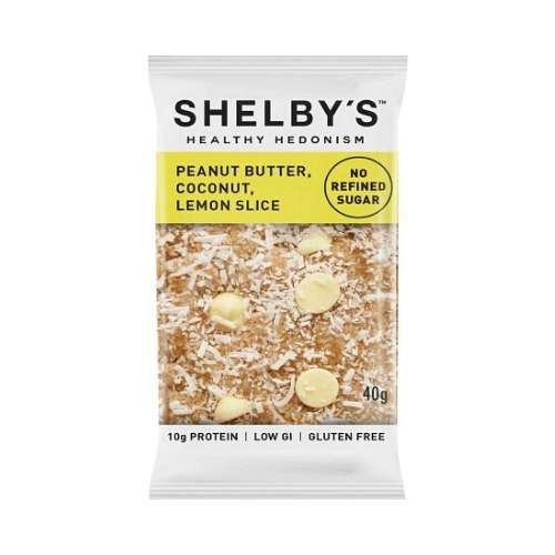 Shelby's Healthy Hedonism Nut Butter Bars Peanut Butter, Coconut, Lemon Slice 12x 40g - GoodnessMe