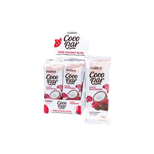 Niulife Coco Bar Choc Raspberry 12x 35g