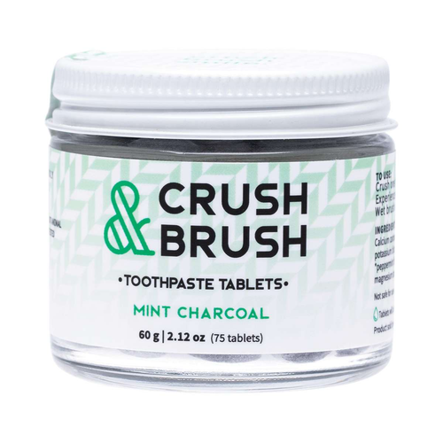 Nelson Naturals Crush & Brush Toothpaste Tablets - Mint Charcoal 60g - GoodnessMe