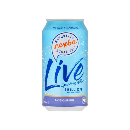 Nexba Beverage Co Live Sparkling Water Passionfruit 12x 375mL - GoodnessMe