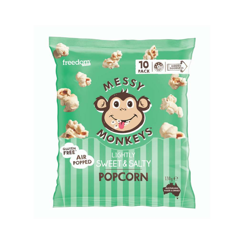 Freedom Foods Group Messy Monkeys Lightly Salted & Sweet Popcorn - GoodnessMe