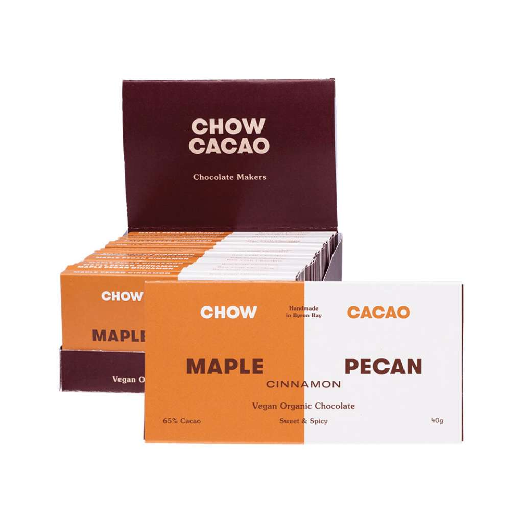 Chow Cacao Vegan Organic Chocolate	Maple Pecan Cinnamon 5x 40g
