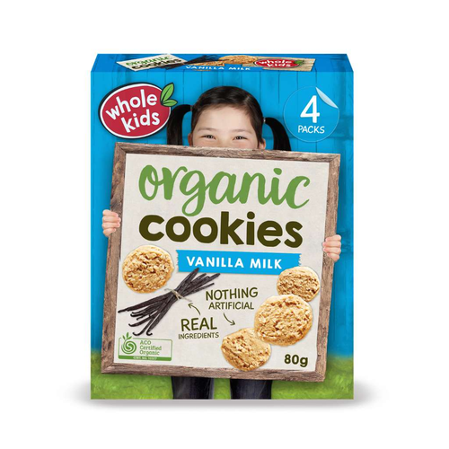 Nourish Foods Whole Kids Organic Cookies Vanilla Milk - GoodnessMe