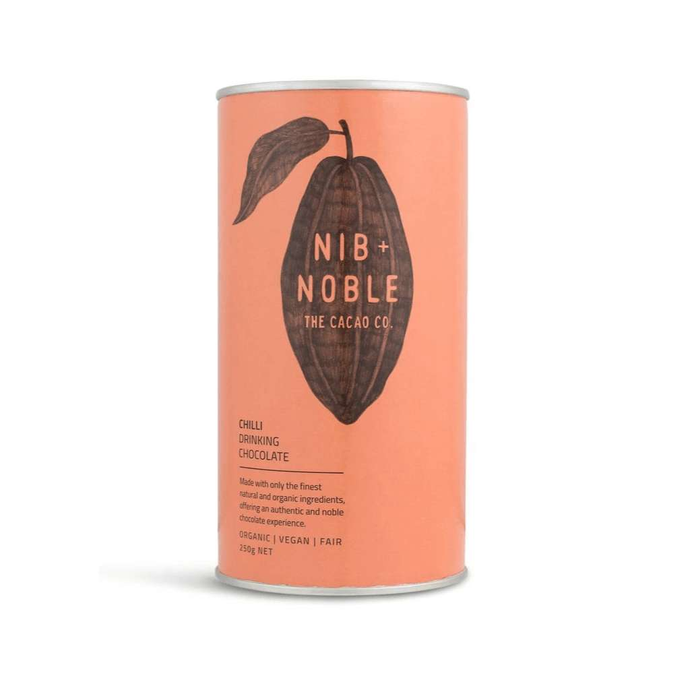 Nib and Noble Chilli Organic Drinking Chocolate of 4 x 250g Canisters