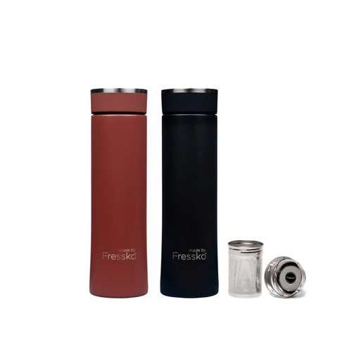 Made By Fressko Insulated Infuser Flask Set  - Coal 500mL + Clay 500mL - GoodnessMe