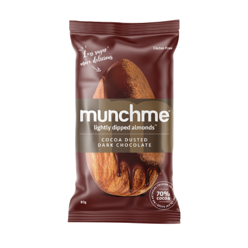 Munchme Skinny Dipped Almonds - Cocoa Dusted Dark Chocolate