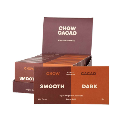 Chow Cacao Vegan Organic Chocolate	Smooth Dark 5x 40g - GoodnessMe