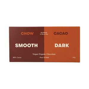 Chow Cacao Vegan Organic Chocolate	Smooth Dark 15x 40g