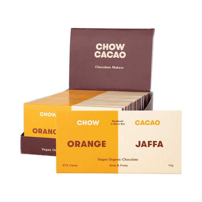 Chow Cacao Vegan Organic Chocolate	Orange Jaffa 5x 40g