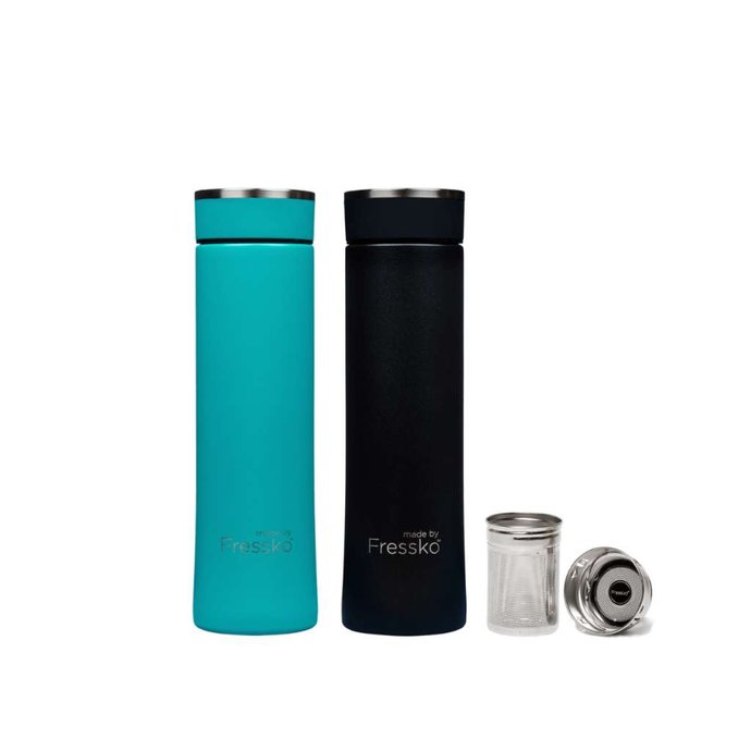 Made By Fressko Insulated Infuser Flask Set  - Coal 500mL + Lagoon 500mL - GoodnessMe