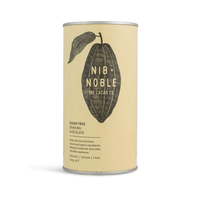 Nib and Noble Sugar Free Organic Drinking Chocolate of 4 x 250g Canisters