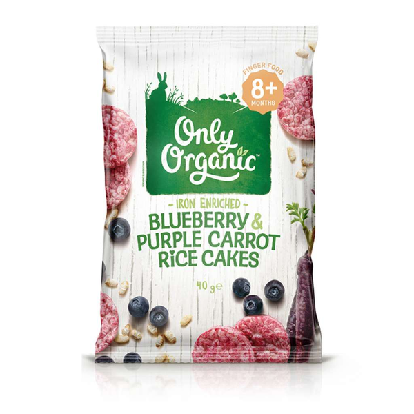 Only Organic - Blueberry & Purple Carrot Rice Cakes 40g