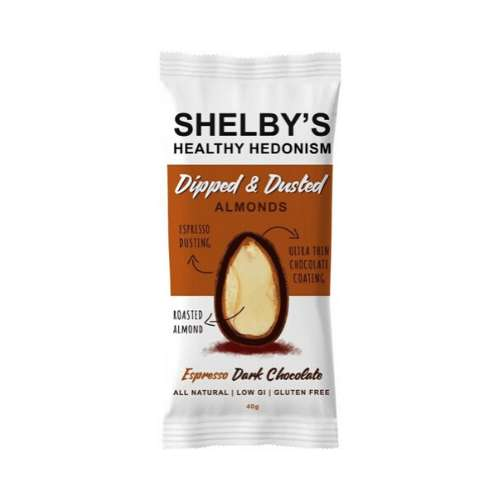 Shelby's Healthy Hedonism Dipped & Dusted Almonds Espresso & Dark Chocolate 10x 40g - GoodnessMe