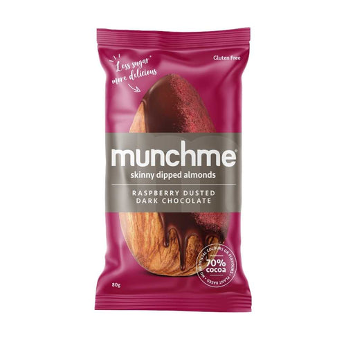 Think Food Munchme Skinny Dipped Almonds Dark Chocolate Raspberry 10x 43g