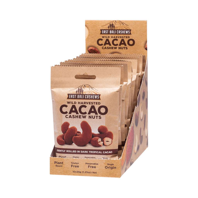 East Bali Cashews Cacao Box of 10x 35g - GoodnessMe