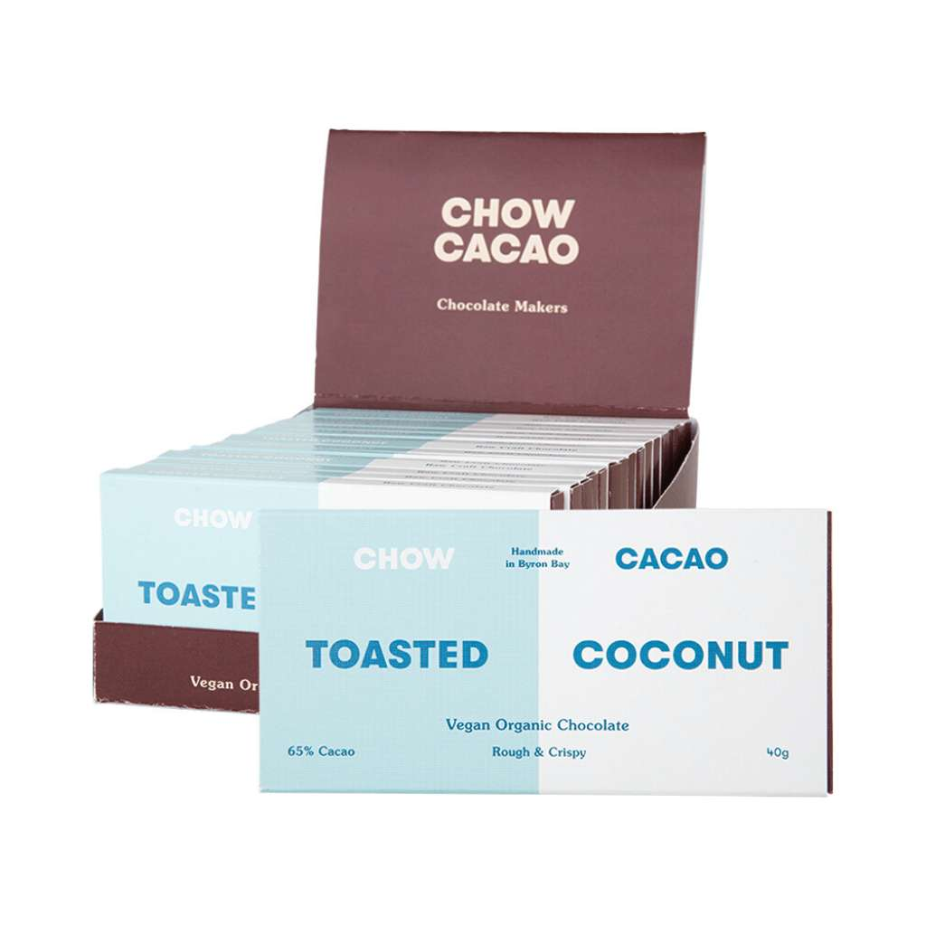 Chow Cacao Vegan Organic Chocolate	Toasted Coconut 5x 40g