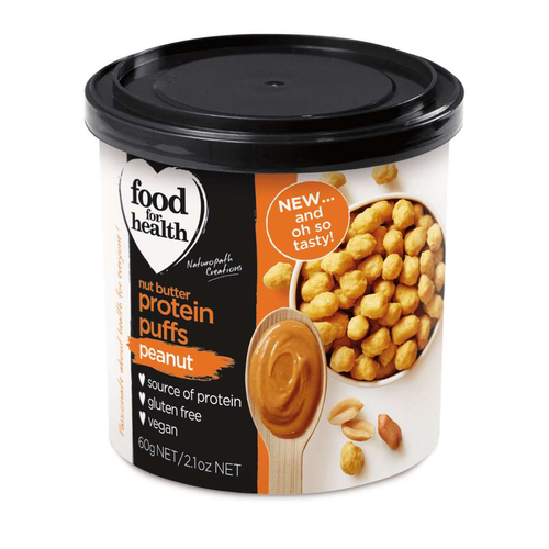Food for Health Nut Butter Protein Puffs Peanut Flavour - GoodnessMe