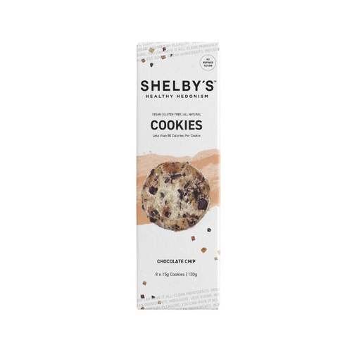 Shelby's Healthy Hedonism Cookies Chocolate Chip 120g (pack of 8 cookies)