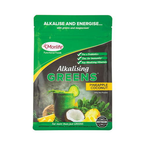 Morlife Alkalising Greens Pineapple Coconut 300g - GoodnessMe