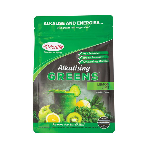 Morlife Alkalising Greens Lemon Lime 300g - GoodnessMe