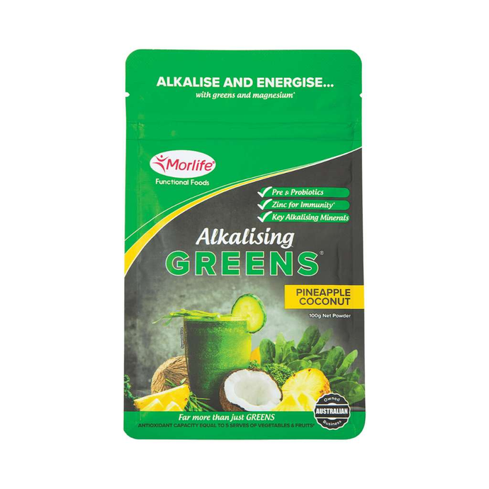 Morlife Alkalising Greens Pineapple Coconut 100g - GoodnessMe