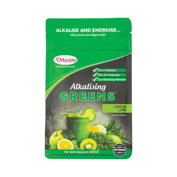 Morlife Alkalising Greens Lemon Lime 100g - GoodnessMe